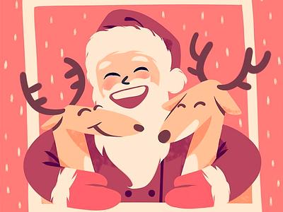 Santa and his deers hugs christmas new year holiday smile picture winter snow deers santa claus