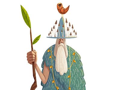 Woodsman beard mushrooms oldman bird woodsman drawing digital art art illustration