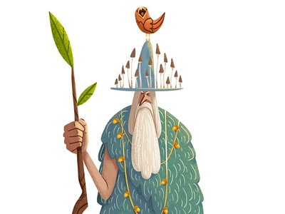 Woodsman beard mushrooms oldman bird woodsman drawing digital art art illustration