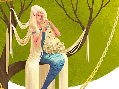 Mermaid golden chain tree lukomorie mermaid long hair girl character art illustration