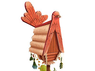 Fairy tail hut desing concept house bird hut fairy tail art illustration