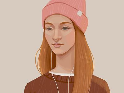 Polina photoshop long hair portrait face woman beautiful drawing digital art art illustration