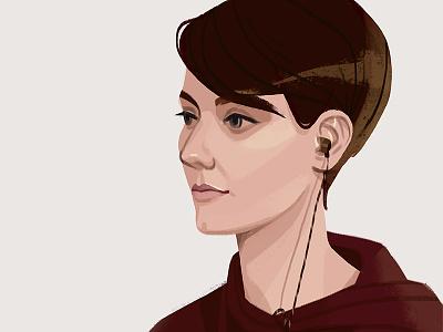 Self-portrait photoshop short hair portrait face woman beautiful drawing digital art art illustration