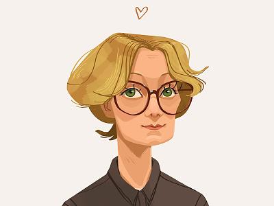 Dasha heart glasses short hair portrait face blond woman beautiful digital art art illustration