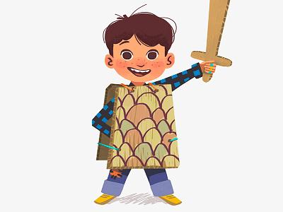 Funny kid design costume child kid funny texture sword boy digital art art illustration