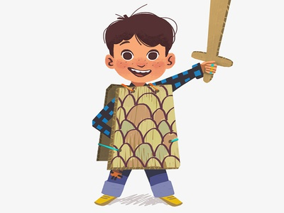 Funny kid design costume child kid funny texture sword boy digital art art illustration
