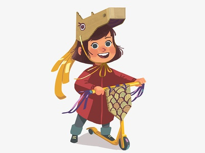 Brave knight smile carton mask design face happy girl kid scooter horse knight illustration
