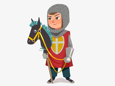 Knight design costume child kid funny horse boy digital art art illustration