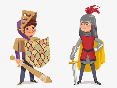 Kids in costumes carton texture concept design costume child kid funny boy digital art art illustration