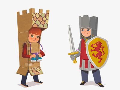 Kids in costumes 2 carton texture concept design costume child kid funny boy digital art art illustration