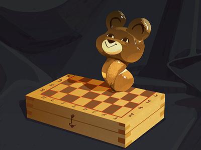 Misha bear speedpaint statuette bear study illustration chess speedpaint art stilllife