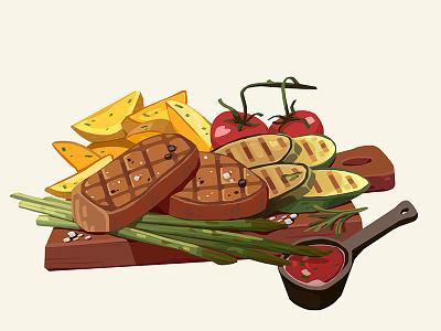 Yum! restaraunt meat meal tasty food digital art art illustration