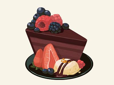 Piece of cake meal tasty food ice cream berries dessert cake digital art art illustration