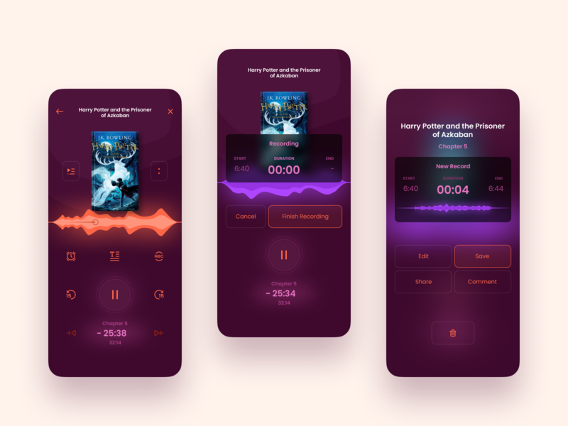 Audiobook app — Listening & Recording recording volume mobile app mobile audiobooks audio app kit-uix ui concept