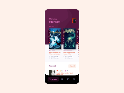 Audiobooks App — Home & Book screens animation book mobileapp animation audio audiobooks mobile ui app kit-uix ui concept