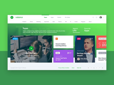 Veeam Corporate portal concept kit-uix greendesign uitrends designinspiration ui webconcept webdesign web veeam corporate concept creative