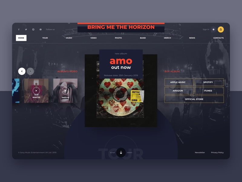 BMTH music band website concept bmth designtrends designinspiration webdesign web inspiration userexperience userinterface interface ux ui design concept website musicband kit-uix