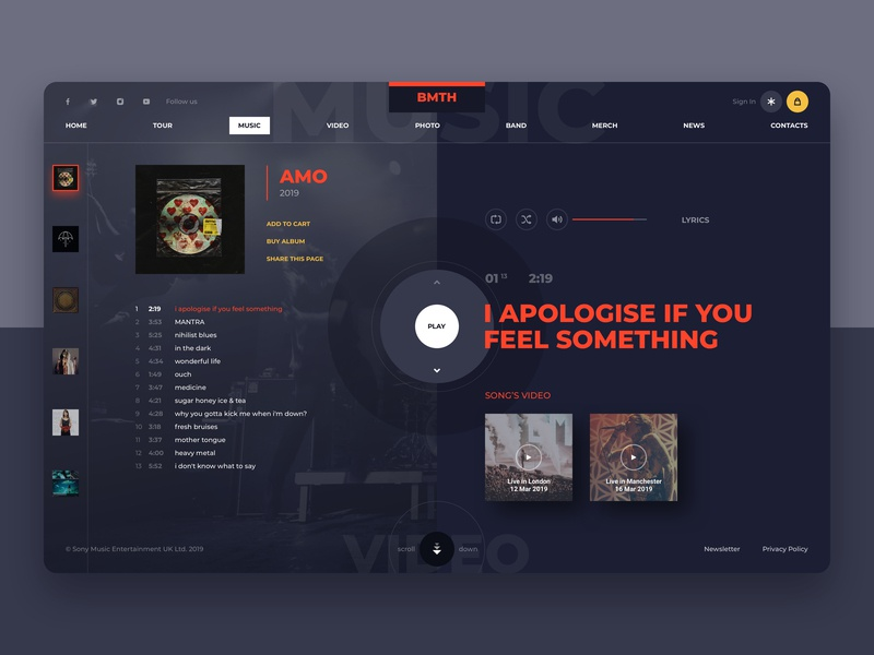 BMTH music band website concept 3 website webdesign web ux userinterface ui musicband kit-uix interface inspiration designtrends design inspiration design concept bmth