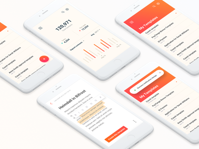 Contracts iOS app ui ux google material design templates writer dashboard list contract app ios