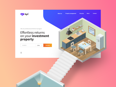 Airbnb Manager Service service room minimalistic airbnb landing page site app ui