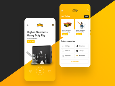 Weed store mobile e-commerce adobe xd smoke weed orange cards shopping product app e-commerce