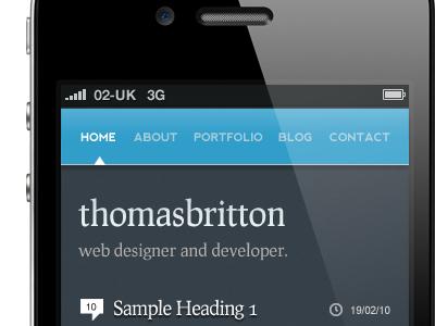 Navigation and header (mobile site)