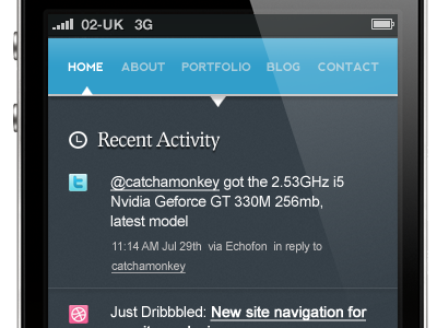 Activity stream on homepage of my new website (mobile site)