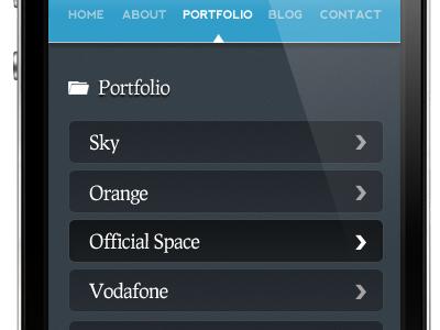 Portfolio section of my mobile site