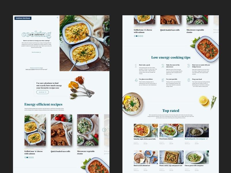 Low Energy Cookbook 👨🍳 web ux ui nutrition minimalistic meal landing homepage food webpage clean cooking