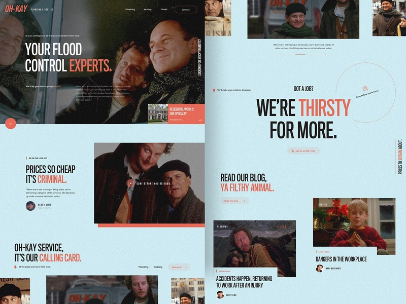 Oh-Kay Plumbing - Concept sticky bandits web home minimal clean design new year ux wet bandits plumber corporate homepage concept christmas home alone