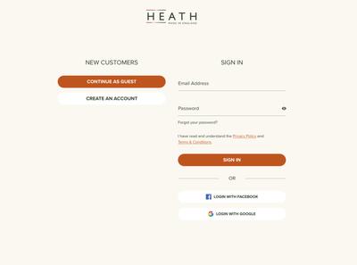 Heath London - Guest checkout process checkout bag ux ui product mens fashion