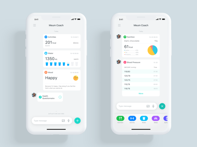 Meum Coach activity tracker ux ui message infographic information im healthcare health guide gene fitness fit dna coach card big data app ai activity