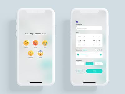 Meum Coach kit ios fit health care button selector picker symptom measurement data activity infographic app design emojis emotion emoji ux ui health