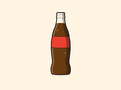 Coke Bottle sugar light shadow stroke pop fizz vector illustrator design glass bottle flat
