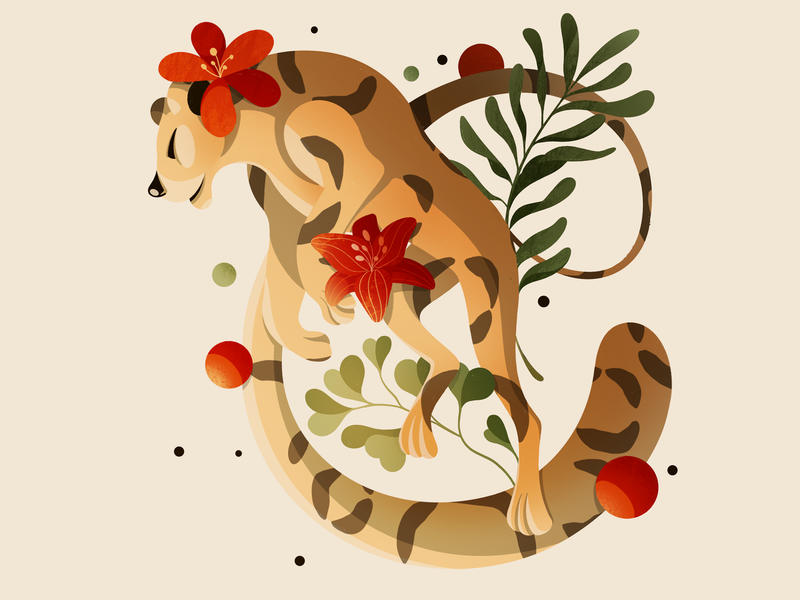 Floating Tiger flat pastel character cartoon illustrator illustration art float vegetation leaf flower feline animal procreate illustration tigers tiger