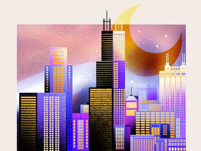 Night Lights geometric gradient palette sckyscraper procreateart procreate illustration flat moonlight moon nightlight cityscape 3d