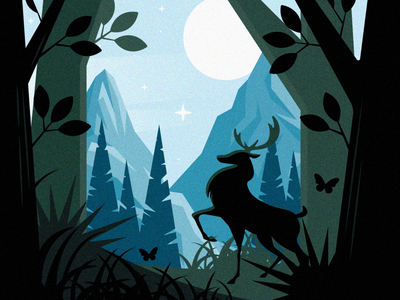 Forest illustration design flat character animal deer nature trees wood panorama mountain landscape forest