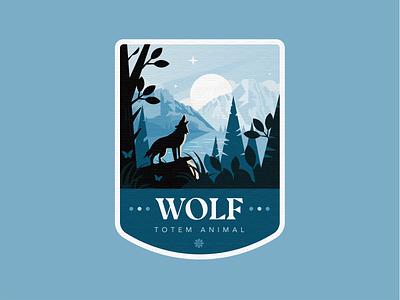 Wolf world natural nature wolf animal wood sea mountain forest sunset landscape enviroment flat illustration character