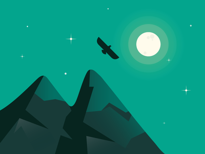 NightSky stars moon mountains