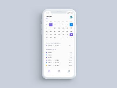 Employee Leave Calendar white product mobile leave holiday minimal calendar flat app ux ui design