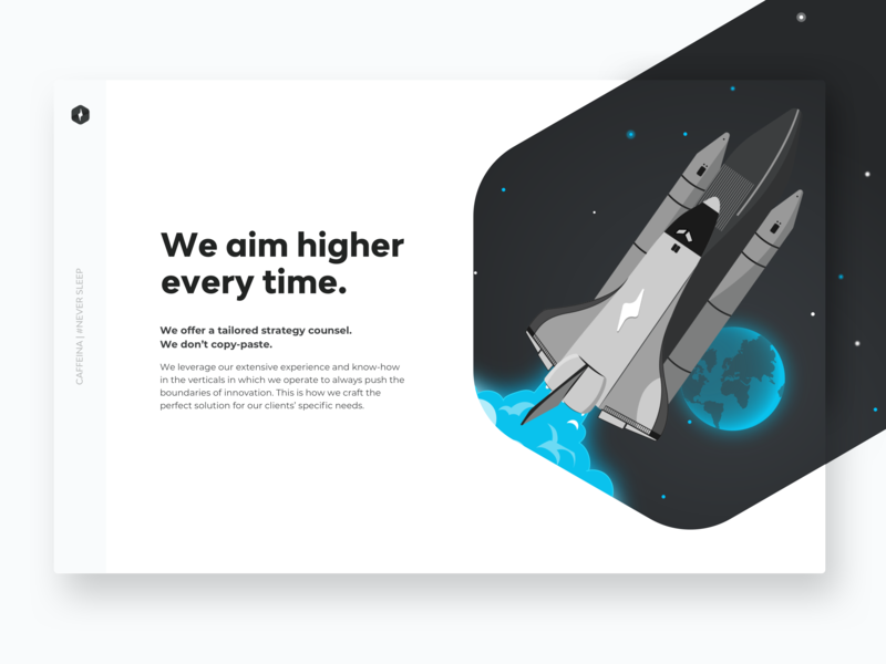 We aim higher every time 🚀 earth universe black typogaphy white blue flat shuttle astronaut space desktop branding illustration design ux ui