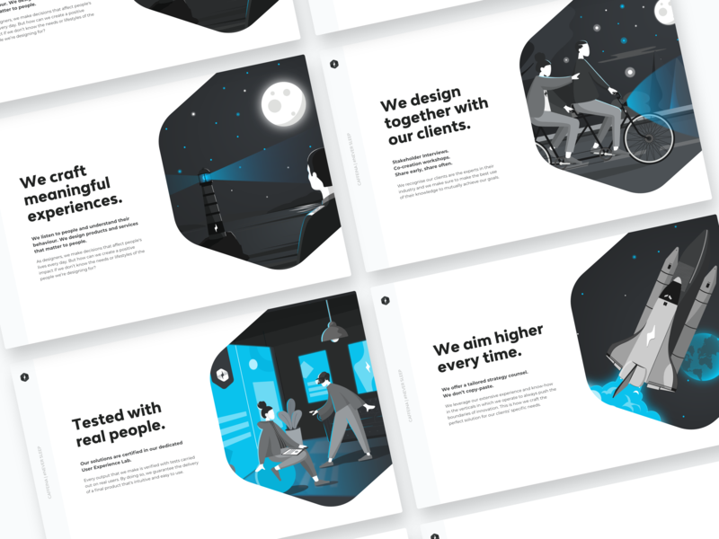 We are Caffeina blue white black flat desktop keynote presentation template presentation template typography branding illustration design ux ui