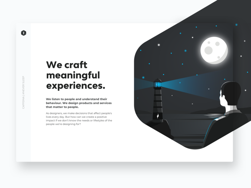 We craft meaningful experiences lighthouse space moon vector typography white blue flat keynote desktop branding illustration design ux ui