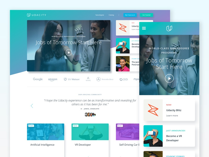Udacity Homepage - Featured Modules blitz gradient cards ui homepage udacity rebrand web design responsive design