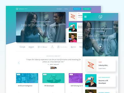 Udacity Homepage - Featured Modules blitz gradient cards ui homepage udacity rebrand web design responsive design