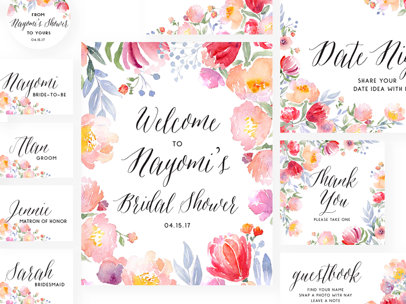 Yay for Nay — Bridal Shower — Paper Suite print design paper suite diy rosegold floral bridal flowers watercolor design bridal shower wedding