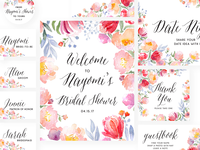 Yay for Nay — Bridal Shower — Paper Suite print design paper suite diy rosegold floral bridal flowers watercolor design bridal shower wedding