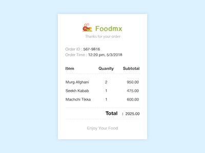 #Daily UI 017 - Email Receipt