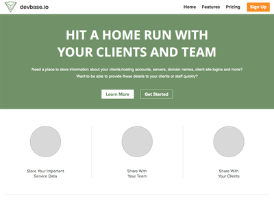 WIP devbase.io Marketing Home landing page homepage marketing