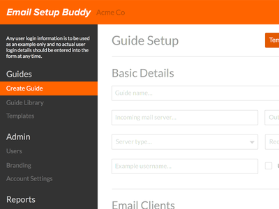 Email Setup Buddy App Sidebar (WIP) sidebar webapp application